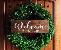 Welcome Sign | Welcome Door Sign | Front Door Sign | Personalized wedding Sign | Personalized Family Sign | Last Name Sign | Family sign by TheWoodGrainHome on Etsy https://www.etsy.com/listing/399982215/welcome-sign-welcome-door-sign-front