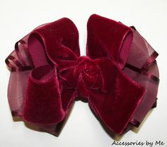Girls Wine Velvet Organza Hair Bow Childrens Accessory Wedding Holiday Christmas #AccessoriesbyMe #HairAccessories