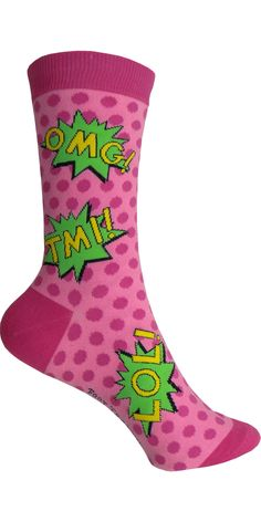 Product Details OMG, TMI LOL! You know what I'm saying? These awesome pink socks can help you get the message out. Sizing Information: Shoe Size: Women's 4-10 Style: Crew Primary Colors: Pink Brand: F