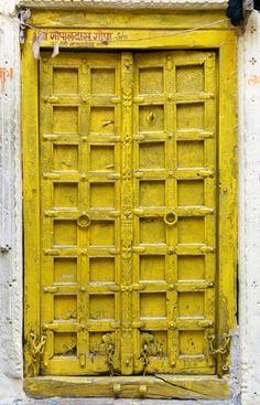Jaisalmer, Rajasthan, India by SAburns Cool Doors, Unique Doors, Portal, Door Knockers, Door Knobs, Porches, Mellow Yellow, Bright Yellow, Color Yellow