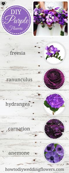 Purple Wedding Trends.Purple Wedding Ideas & flowers.Purple Wedding Palette . Purple Wedding inspiration. How to make a Wedding bouquet. For the centerpieces