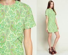 60s PAISLEY Dress Boho Psychedelic Mini Print Mod 70s by ShopExile