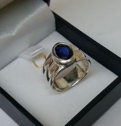 Vintage Ringe - Ring Silber 925er mit Kristall blau Vintage SR501 - ein…