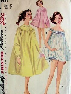 Welcome to So Vintage Patterns Baby Doll Pajamas, Baby Doll Nighties, Baby Dolls, Fashion Tv, 1950s Fashion, Fashion History, Vintage Fashion, Vintage Dress Patterns, Clothing Patterns