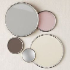 Grey, taupe silver, cream and blush paint samples.