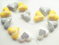 Personalised bunting garland ,Yellow & Grey hearts, baby girl nursery decoration, felt garland, felt name bunting, heart garland, yellow by xCrazyLittleCraftsx on Etsy https://www.etsy.com/uk/listing/471031311/personalised-bunting-garland-yellow-grey