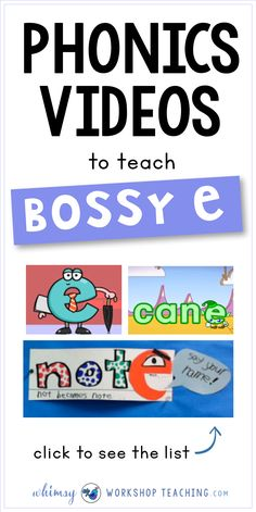 A great list of phonics videos for teaching phonics rule (spelling pattern) bossy e or magic e (list of videos and bulletin board project idea) Phonics Rules, Phonics Lessons, Teaching Phonics, Phonics Activities, Literacy Games, Reading Activities, First Grade Phonics, Teaching First Grade, First Grade Reading