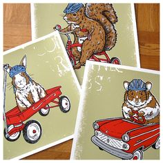 Safety First Critter 3 Pack Poster Deal Squirrel Hamster by gigart, $50.00