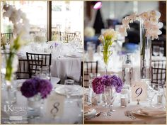 Gorgeous purple & white detailed wedding at Chicago Yacht Club with phalaenopsis orchids, calla lilies and hydrangeas. Photos by rebeccamarieart.com