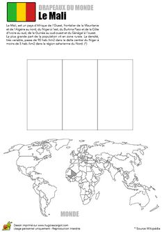 Coloriage du drapeau du Mali et de la carte du monde
