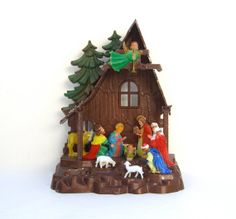 Vintage Plastic Nativity Manger  Christmas by OurModernHistory, $12.00