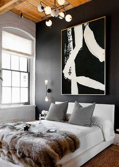 Black and White Modern Art Large Canvas Painting by ArtCAStudio