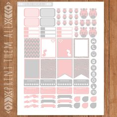 Pink-Gray ZEBRA Planner Stickers Printable by PrintThemAllStudio