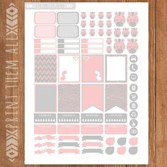 Pink-Gray ZEBRA Planner Stickers Printable by PrintThemAllStudio