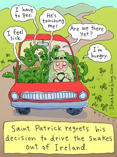 Saint Patrick and The Snakes.  Saint Patrick regrets his decision to drive the snakes out of Ireland.  #humor #Irish