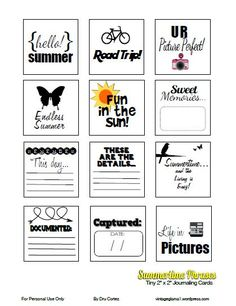 Printable -- Tiny {2x2} Summertime Phrases Journal Cards. Perfect size for Smashing.