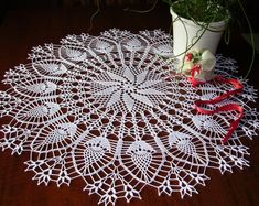 large crochet tablecloth round placemat table easter decoration lace doily centerpiece napkins napperon white cotton birthday gift mom day