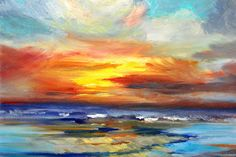 Pacific Sunset Glow Painting by Nancy Merkle