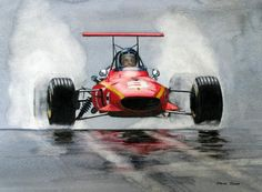 Motorsport Print Print featuring the painting Jackie Ickx Ferrari by Steve Jones Grand Prix, Ferrari Racing, Ferrari F1, Ferrari Laferrari, Monaco, Garage Art, Automobile, Car Illustration, Car Posters