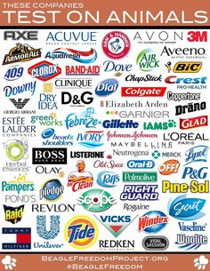 These companies test on animals. Please boycott these companies.