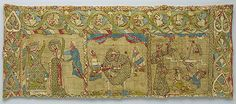 Stole with Images of the Martyrdom of Saint Catherine, ca. 1200  German (Rhineland) or English  Red silk, linen underlay, crimson silk tabby, metal threads (strips of gold and silver leaf wrapped on linen thread)