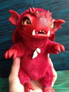 FANTASY PLUSH CREATURE Little Fire Dragon Ooak Fantasy