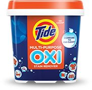 Versatile cleaning power of Tide Oxi Multi-Purpose Stain Remover which features more than 225 household uses.