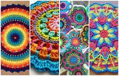 Afbeeldingsresultaat voor mandalas tejidos al crochet patrones Crochet Round, Crochet Home, Love Crochet, Crochet Doilies, Crochet Yarn, Crochet Stitches, Manta Crochet, Tunisian Crochet, Crochet Granny