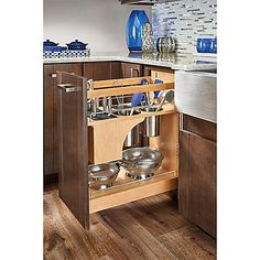 Kitchen Cabinet Rev-A-Shelf 11 in. Pull-Out Wood Base Organizer w/Knife Block and Soft-Close Slides Kitchen Cabinet Organization, Kitchen Storage, Cabinet Organizers, Kitchen Utensils, Modern Farmhouse Kitchens, Home Kitchens, Kitchen Interior, Kitchen Decor, Kitchen Ideas