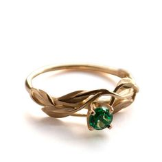 Leaves Engagement Ring 18K Yellow Gold and by DoronMeravWeddings, $870.00
