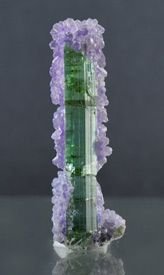 Purple Fluorapatite on blue-green Tourmaline from Maine