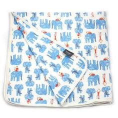 VIVE MUSLIN BLKT BLUE ELEPHANTS
