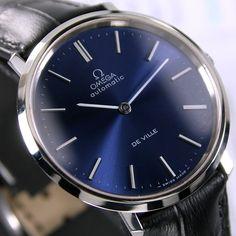 1972 Vintage Omega De Ville Cal 711 24 J Automatic Blue Dial Men's Dress Watch 1100 USD