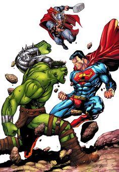Hulk v Thor v Superman Marvel Vs, Marvel Comics Art, Marvel Comic Universe, Thor Vs Superman, Hulk Vs Thor, Comic Books Art, Comic Art, Book Art, Hulk Artwork