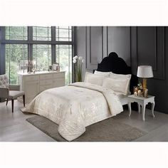 Cotton Yatak Örtüsü Emboss Nupuk Çift Kişilik Damask Black Bronze, Damask, Bed, Furniture, Home Decor, Decoration Home, Damascus, Stream Bed, Room Decor