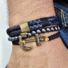 kit 3 pulseiras masculinas couro âncora e hematita bracelet man men's fashion