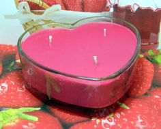Strawberry Jam PURE SOY Heart Container Candle 16 oz