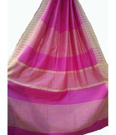Pink Handloom Pure Matka Silk Saree