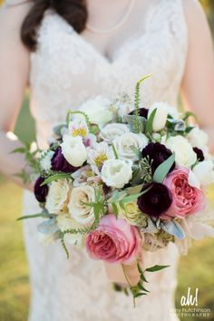 Romantic bouquet with pinks, deep plums and white flowers | Southern Event Planners | Amy Hutchinson #weddings #bouquets