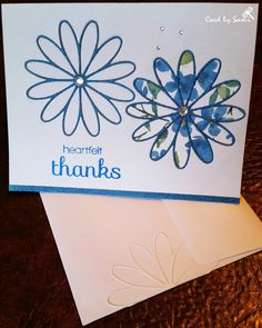 """Thank You Card with inlaid die cuts >> Tools: Memory Box Tilth Flower die, SU painted blooms designer paper. Tilth flowers were die cut from printed glitter folder from Walgreens. These folders are smooth to the touch & no glitter pieces to fall off. Two medium and three tiny rhinestones were added. A white Tilth flower was added to the envelope and inside along with sentiment """"for your kindness"""".  Simon Says Stamps Really Big Thanks clear stamps."""