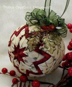 vikki posted Quilted Christmas Ball Ornament Burgundy & by MyPrairieCreations to their -quilting fever- postboard via the Juxtapost bookmarklet. Folded Fabric Ornaments, Quilted Christmas Ornaments, Noel Christmas, Diy Christmas Ornaments, Handmade Christmas, Christmas Decorations, Ball Ornaments, Christmas Patchwork, Christmas Projects
