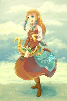 Zelda by anokazue.deviantart.com on @deviantART   SS Zelda is so cute, if a little overly feisty