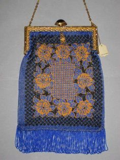 Antique French Micro Beaded Floral Purse w/Marcasites & Cabochon from victoriandreams on Ruby Lane