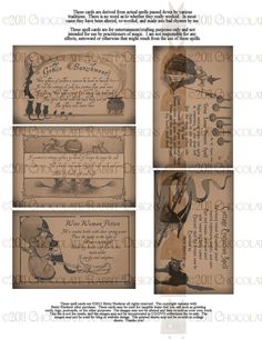 Vintage Halloween Witch Spell Card Instant Digital Download Scrapbook Printable Clip Art Collage Sheet