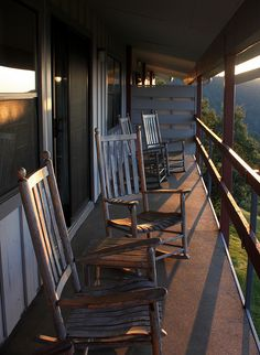 Narrow country porch with inviting rocking chairs... || Great place to watch the sun rise or set! :-)