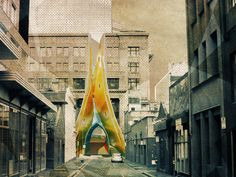 """But Oh! That Deep Romantic Chasm Which Slanted"" by RMIT University student, Naomi Pui Kay Brennan.This project offers hope for the abandoned walls of the Argus Building, once home to the prestigious Argus newspaper. This project sought to widen the influence of the built streetscape of RMIT University's Swanston Street precinct, composed of Building Eight by Edmond & Corrigan, and Storey Hall by ARM."