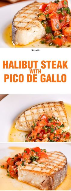This recipe has a whopping 43-grams of protein!! It's the Skinny Ms. Halibut Steak with Pico de Gallo.