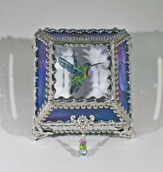 Etched Hand Painted Hummingbird Glass Treasure Box by GlassTreasureBox on Etsy