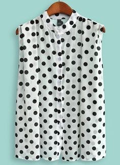 Black + White polka dot blouse