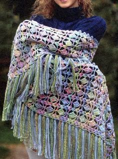 easy-crochet blogspot: Crochet shawl wrap charted pattern | The fringes add a cozy-chic element to this multi-hued pattern